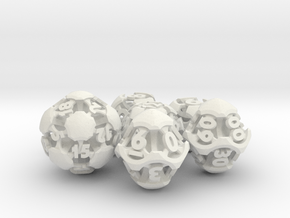 Chord Dice Set with Decader in White Natural Versatile Plastic