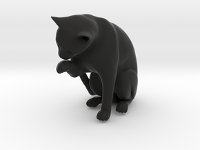 Cat Cleaning Paw in Black Natural Versatile Plastic: 1:22.5