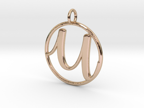 Cursive Initial U Pendant in 14k Rose Gold
