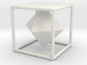 Dual Solids Cube-Octahedron (no hole) in White Natural Versatile Plastic