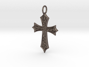 Celtic Cross (point ends) in Polished Bronzed-Silver Steel