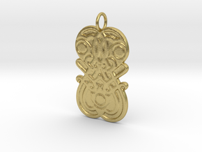 Germanic Style mirror motif pendant in Natural Brass