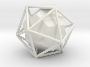 Dual Solids Icosahedron-Dodecahedron (no hole) in White Natural Versatile Plastic