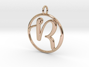 Cursive Initial R Pendant in 14k Rose Gold