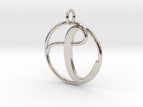 Cursive Initial C Pendant in Platinum