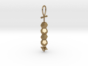 Dodecahedron_tetrahedron_DNA pendant in Polished Gold Steel