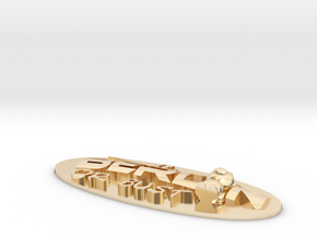 Logo-Minibär-Oval in 14k Gold Plated Brass