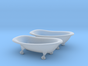 HO Scale Clawfoot Bathtubs in Smooth Fine Detail Plastic