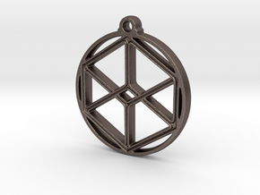 Cube Pendant in Polished Bronzed-Silver Steel