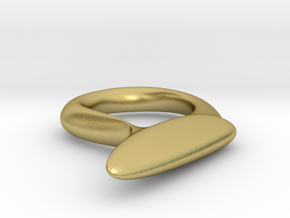 Winged Eyeliner Ring in Natural Brass: Medium