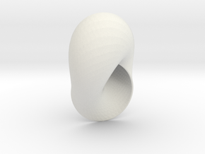 Mobius Strip With Round Boundary in White Natural Versatile Plastic