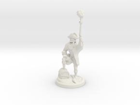 Orc Pirate with Gun and Smoke on 28mm Base in White Natural Versatile Plastic