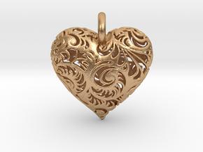 Filigree Heart Pendant in Natural Bronze