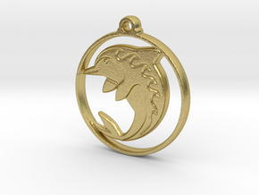 Dolphin Pendant in Natural Brass