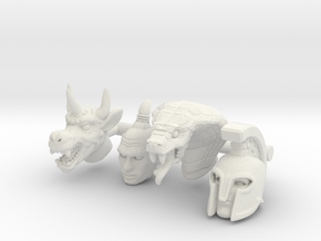 Galaxy Warrior Heads 4-Pack #1 - Multisize in White Natural Versatile Plastic: Extra Small