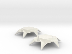Origami Hexagon Earring in White Natural Versatile Plastic