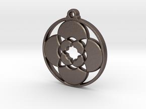 Lotus Pendant III in Polished Bronzed-Silver Steel