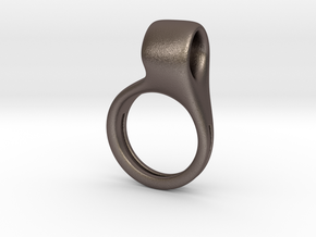 The Swivel Script Ring  in Polished Bronzed-Silver Steel