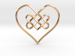 Knotty Heart Pendant in Polished Bronze
