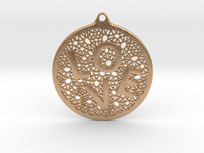 LOVE Word Pendant  in Natural Bronze: Small