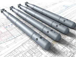 """1/144 Royal Navy 21"""" MKVIII Torpedos x4 in Smoothest Fine Detail Plastic"""