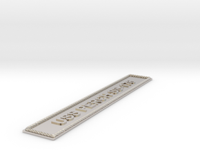 Nameplate USS Perch SS-176 in Rhodium Plated Brass