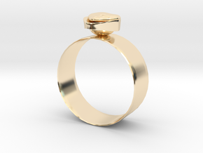 """GoldRing """"Heart"""" in 14k Gold Plated Brass"""