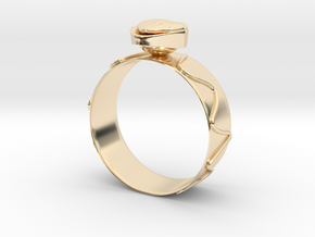 """GoldRing """"Heart"""" version1 in 14k Gold Plated Brass"""