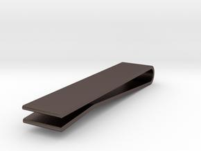Earring Tie Clip: Tie Clip in Polished Bronzed-Silver Steel