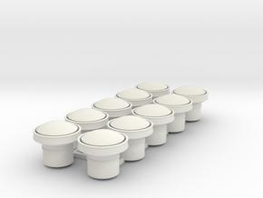 10 x 1.125 inch scale Carriage Ventilator Bodies in White Natural Versatile Plastic