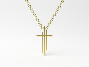 Calvary Cross Pendant - Christian Jewelry in 14k Gold Plated Brass