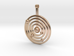 Solar system round pendant in 14k Rose Gold Plated Brass