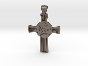 Firefighters Cross-2 in Polished Bronzed-Silver Steel