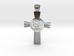 Firefighters Cross-2 in Fine Detail Polished Silver