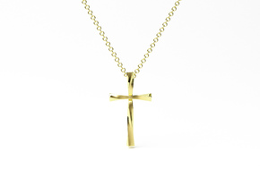 Twist Cross Pendant - Christian Jewelry in 14k Gold Plated Brass