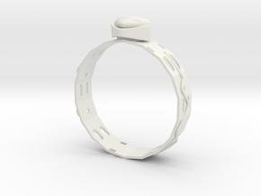 Ring , Ear Ring ,  Pendant on Neck ,  SET Number2 in White Natural Versatile Plastic