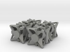 Fudge Pinwheel d6 4d6 Set in Gray PA12