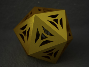 Decorative Icosahedron in Polished Gold Steel