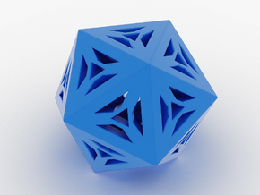 Decorative Icosahedron in Blue Processed Versatile Plastic
