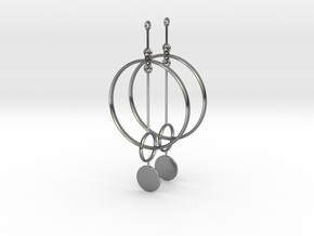 Interlinked Rings Earrings in Polished Silver (Interlocking Parts)
