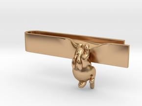 Falling Rabbit Tie Bar in Polished Bronze: Medium