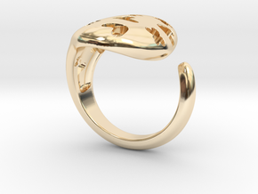 Solid Heart and X Ring. in 14k Gold Plated Brass