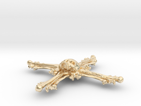 Cross Bone Pendant in 14K Yellow Gold