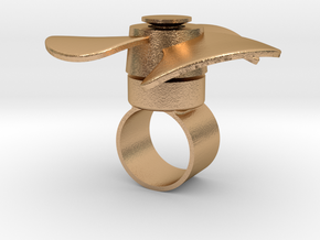 Fidget Spinner Ring in Natural Bronze (Interlocking Parts): Medium