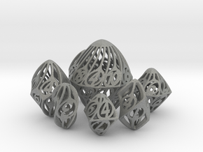 Twisty Spindle Dice Set with Decader in Gray Professional Plastic