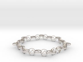 63.5 mm approximately bracelet in Rhodium Plated Brass