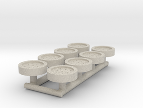 8 HO Scale Man Hole Covers in Natural Sandstone