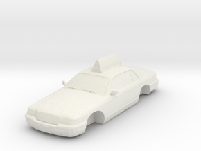 2007 Ford Crown Victoria Taxi No Wheels 1-87 Scale in White Natural Versatile Plastic