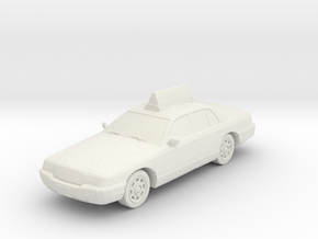 2007 Ford Crown Victoria Taxi With Wheels 1-87 Sca in White Natural Versatile Plastic