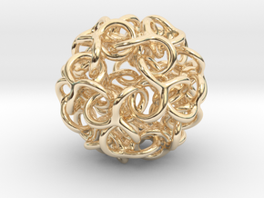 Interwoven Dodecahedron Starball in 14k Gold Plated Brass